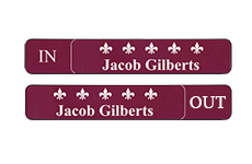 in/out logo name plates