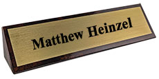 "2"" x 10"" Brown Marble Desk Wedge Name Plate"
