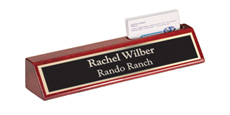 "2"" x 10"" Rosewood Desk Wedge Name Plate with Business Card Holder"