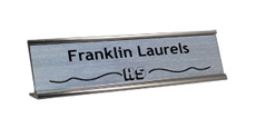"2"" x 8"" Traditional Metal Frame Desk Name Plate with Logo"