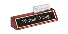 "2"" x 8"" Rosewood Desk Wedge Name Plate with Business Card Holder"