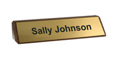 "2"" x 8"" Walnut Desk Wedge Name Plate"