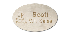 Oval Wooden Name Tags